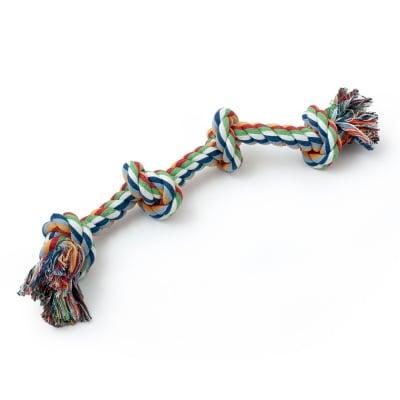 Играчка за куче - памучно въже с 4 възела 50 см
