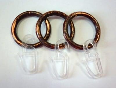 Пластмасови халки с куки за корниз - кафяв/ злато  10 броя