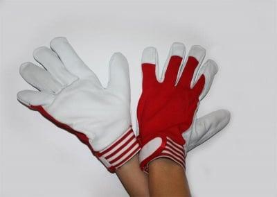 Ръкавици кожа и триго GI червени