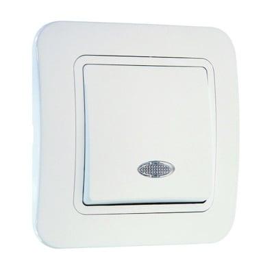 Ключ девиаторен със светлинен индикатор бял - Lilium