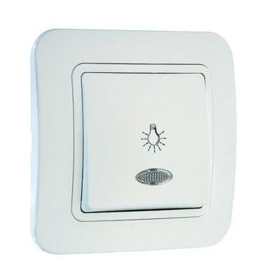Ключ стълбищен  със светлинен индикатор бял - Lilium