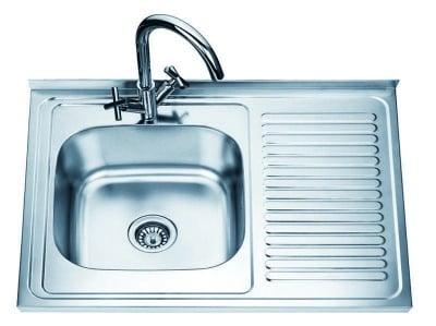Алуминиева мивка с десен плот - Inter Ceramic