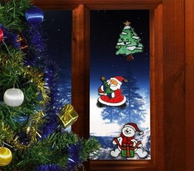 Коледна силиконова лепенка за прозорец средна