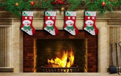 Коледна украса светещ чорап снежен човек
