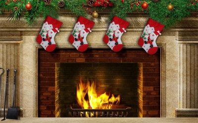 Коледна украса светещ чорап Дядо Коледа