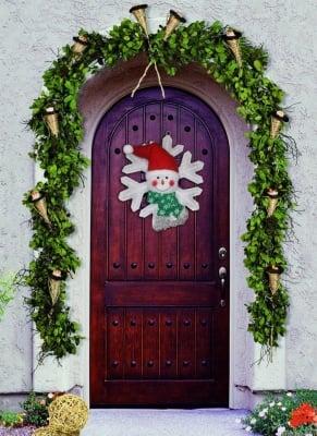 Коледна украса звезда със светещ Снежко