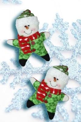 Плюшена коледна играчка снежен човек