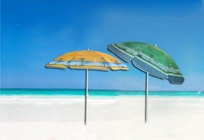 Цветен плажен чадър - голям