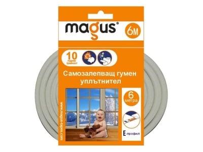 Гумен уплътнител Е-профил Magus бял - 6 м.