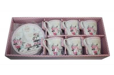 Сервиз чашки и чинийки за кафе / чай 6 броя