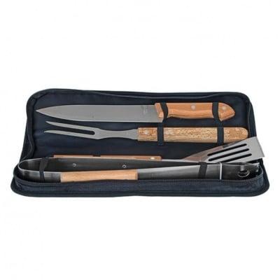 Комплект за барбекю 4 части с дървена дръжка