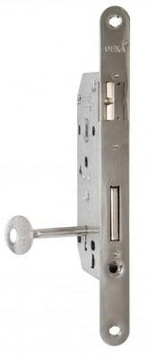 Вкопана брава за врати - обикновена никел 70 мм. Deka