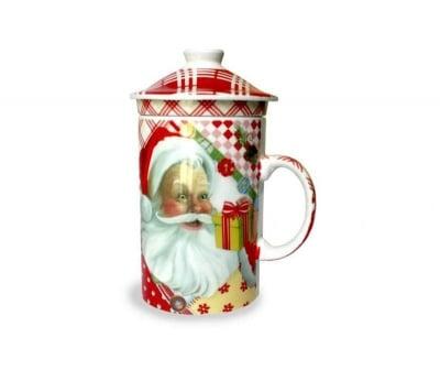 Коледна чаша с капак и цедка за чай