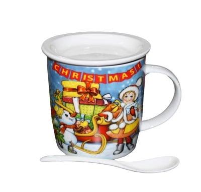 Коледна чаша с капак и лъжичка