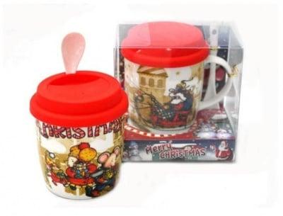 Коледна чаша със силиконов  капак и лъжичка