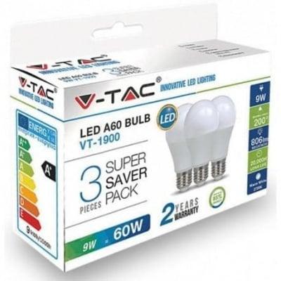 Комплект 3 бр. LED крушки 9W Е27 6400K V-TAC