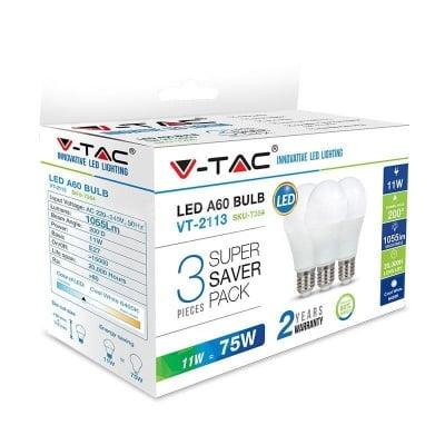 Комплект 3 бр. LED крушки 11W Е27 4000K V-TAC