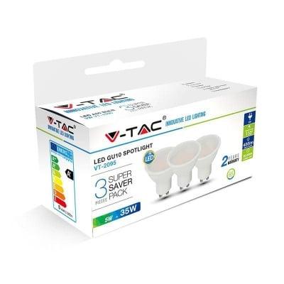 Комплект 3 бр. LED крушки 5W GU10 3000K V-TAC