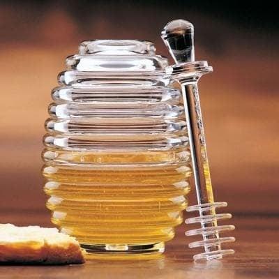 Буркан за мед с бъркалка