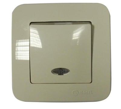 Ключ единичен със светлинен индикатор бежов - Lilium