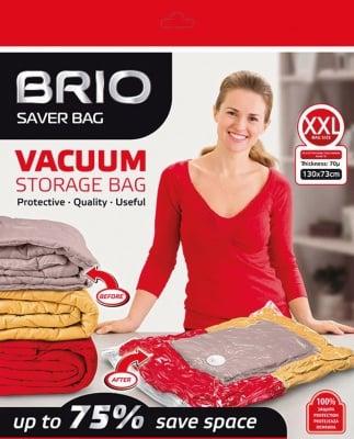 Вакуумен плик BRIO за съхранение на дрехи - 130 х 73 см - 70 микрона
