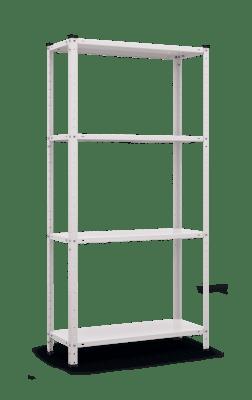 Метален стелаж с 4 рафта - бял