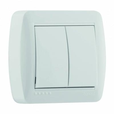Двоен еднополюсен бял ключ  5 с капак серия ДЕМЕТ LEZARD 711-0200 -101