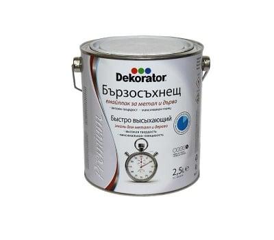 Бързосъхнещ емайллак за дърво и метал Dekorator 2.5 л.-бял