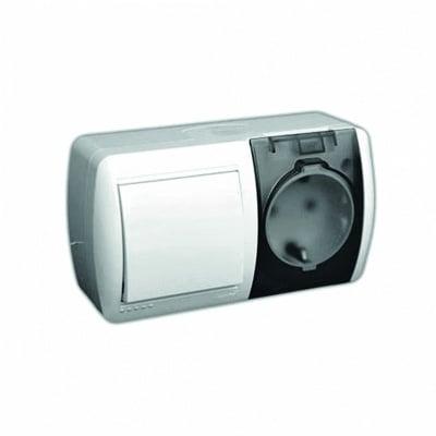 Еднополюсен ключ 1 + контакт със защитна капачка серия HATA  LEZARD 710-0200 -170