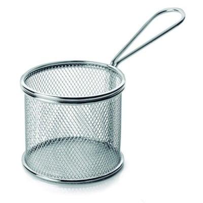 Кръгла кошничка за сервиране на картофи Инокс