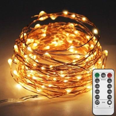 """LED гирлянд 100 броя лампички """" Купър """" с дистанционно за външна и вътрешна употреба Enigma Lights"""