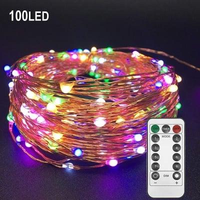 """LED гирлянд 100 броя лампички """" Купър """" с дистанционно за външна и вътрешна употреба на батерии Enigma Lights"""