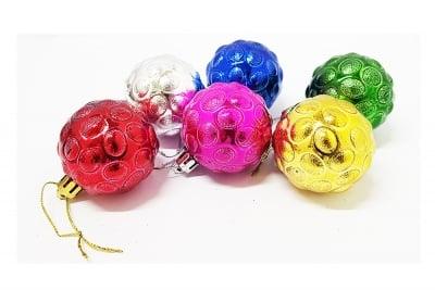 Комплект 6 топки за елха - разноцветни