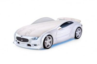 Светещо 3D легло - кола бяло Мазерати Neo + матрак