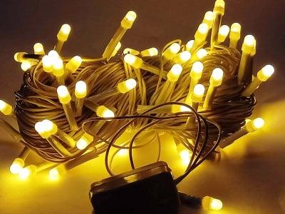 Коледни лампички тип гирлянд 100 бр. - топло бяла светлина
