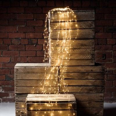 """LED Каскада 200 броя лампички """" Купър """"  - топло бяла светлина"""