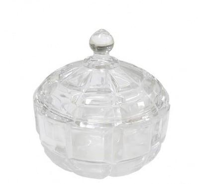 Стъклена захарница с капак