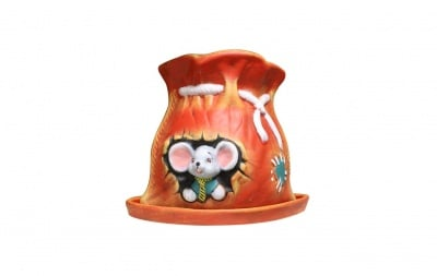 Керамична кашпа - торба с мишка