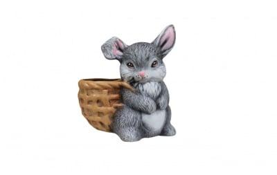 Градинска керамична фигура - зайче с кош