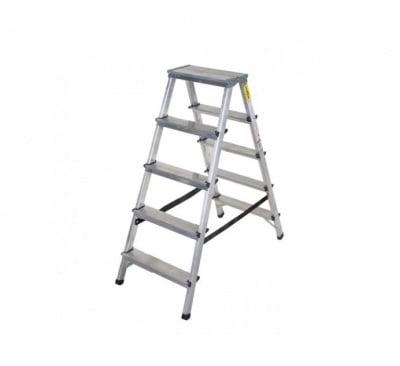 Двустранна алуминиева стълба 2x5 Drabest