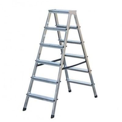 Двустранна алуминиева стълба 2x6 Drabest