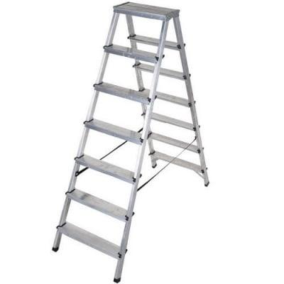 Двустранна алуминиева стълба 2x7 Drabest