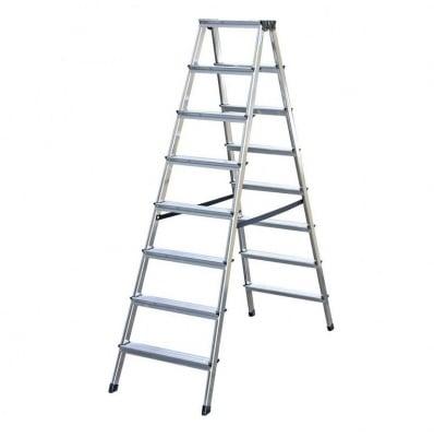 Двустранна алуминиева стълба 2x8 Drabest