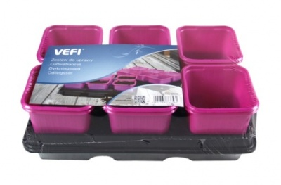 Комплект квадратни саксии за разсад-розови Vefi