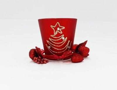 Коледна стъклена свещ Елха