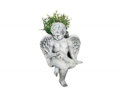 Керамична фигура- Седнал Ангел с кашпа