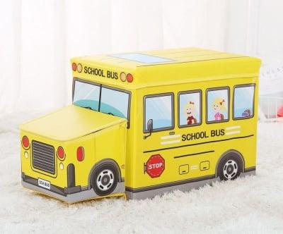Детска сгъваема кутия за играчки -Автобус и Полицейска кола