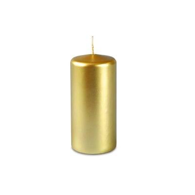 Свещ пилон - златист металик