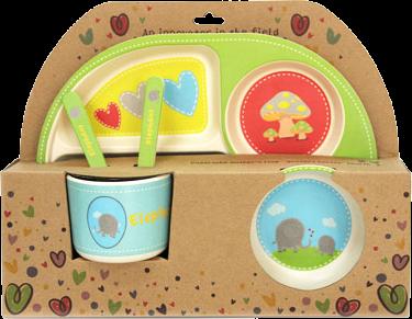 Детски сервиз за хранене от 100% натурални материали - слонче