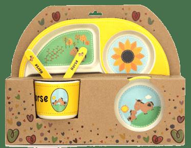 Детски сервиз за хранене от 100% натурални материали - конче
